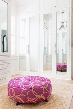 Exclusive: Tour Country Star Darius Rucker's Charming Charleston Home// closet ottoman, mirrored closet doors, modern chrome chandelier The Effective Pictures We Offer You About wooden closet doors A Bedroom Closet Doors, Mirror Closet Doors, Bedroom Cupboards, Bedroom Wardrobe, Master Closet, Build In Wardrobe, Mirrored Bifold Closet Doors, Closet Bench, Mirrored Wardrobe Doors