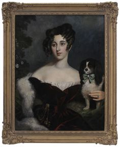 British School  (19th century) Portrait of an Elegant Woman With Spaniel, unsigned, oil on canvas, 34-3/4 x 27-1/4 in.; modern gilt wood and composition frame,