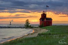 Big Red Lighthouse Photo, Holland Michigan Photo, Lighthouse Photo, Lighthouse Sunset Print, Ottawa Beach SP, Lighthouse Photo Art