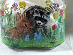 Raccoon chick bunny spring flowers hand by gingerj9useableart, $45.00
