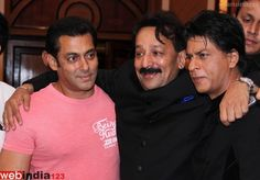 Bollywood actors Shahrukh Khan and Salman Khan during the Iftar Party hosted by Baba Siddique in Mumbai, India on July 21, 2013. Both the actors hugged each other and ended their 5 years of rivalry.  http://movie.webindia123.com/movie/asp/event_gallery.asp?cat_id=2_id=0_no=5498