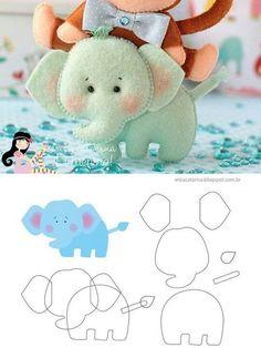 Broche elefante fieltro, patrón gratis