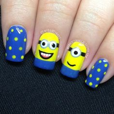 These 20 adorable despicable me minions nail art designs are a good example of how cute you can get your nails. Us Nails, Love Nails, How To Do Nails, Pretty Nails, Hair And Nails, Minion Nail Art, Nailart, Nails For Kids, Funky Nails