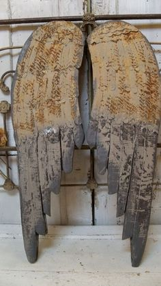 Large wooden angel wings hand painted rusted by AnitaSperoDesign, $220.00