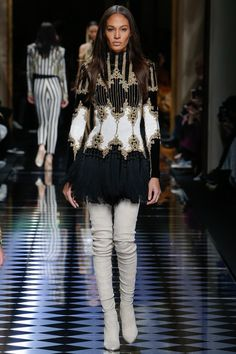 Balmain   Fall/Winter Ready-To-Wear Collection via Designer Olivier Rousteing   Modeled by Joan Smalls   March 3, 2016; Paris