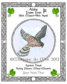Celtic Lunar Astrology Zodiac Sign Art Prints Druid Tree Lore by Morgaine du Mer Celtic Zodiac Signs, Celtic Astrology, Astrology Zodiac, Pisces, Celtic Animals, Celtic Tree, Sign Printing, Book Of Shadows, Male Hawk