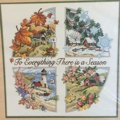 Vintage 1990s Dimensions To Everything There Is A Season Stamped Cross Stitch Kit #3174 by LousAtelier on Etsy