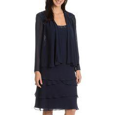SLNY SL Fashions New York Women s Navy Embellished 2-piece Dress  ea21be8bf