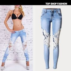 Stretch Ripped Holes Lace Women's Fashion Denim Pants Skinny Pants [6365922820]