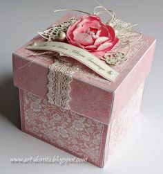 Dorota Kopec in Stalowa Wola, Podkarpackie, POLAND. Exploding Box for Baby Cute Box, Pretty Box, Scrapbook Box, Exploding Box Card, Diy And Crafts, Paper Crafts, Birthday Box, Altered Boxes, Fancy Fold Cards