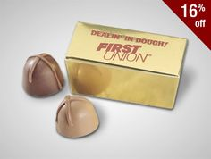 Talk about decadent, the Viola Truffles are it--enjoy two chocolate truffles with creamy chocolate centers packaged in a gold ballotin box  low as $1.89 #PromotionalProducts #Custom #Chocolate #GiftSet #Truffles #Viola