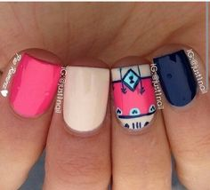 this is just how I want my nails.not so much the paint job though Get Nails, Love Nails, How To Do Nails, Hair And Nails, Gorgeous Nails, Pretty Nails, Perfect Nails, Acryl Nails, Tribal Nails
