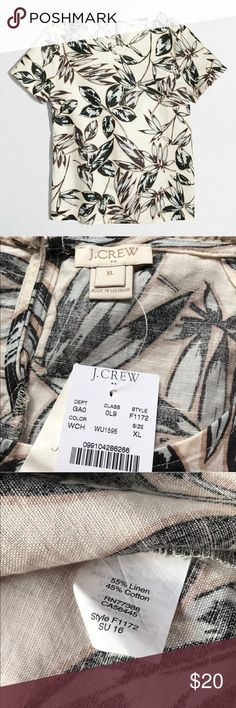 NWT J.Crew Factory gold foil leaf T-shirt New with Tag. Excellent Condition. Never worn.  Linen/cotton. Cap sleeves. J. Crew Factory Tops