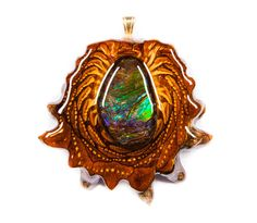 third eye pinecones | Ammolite (Large) Third Eye Pinecone Talisman Necklace