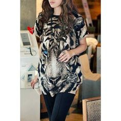 Fashionable Jewel Neck Tiger Print Short Sleeve T-Shirt For Women - Black One Size