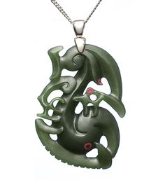AAA Grade NZ Jade & Silver Manaia Necklace : Mountain Jade New Zealand