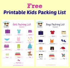 FREE Printable Kids Packing List!!  Print off this cute packing list - one for a boy and one for a girl.  Let the kids get involved in their own packing.  The pictures make it easy for kids to follow and parents can check the bag for missing items later.