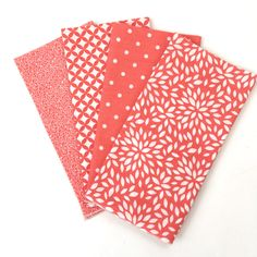 Cloth Napkins - Luncheon Napkins - Set of Four Coral and White Print Napkins - Cloth Party Napkins by GardenViewFlat on Etsy
