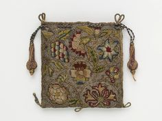 Purse - linen, silk, silver & silver-gilt threads, silk thread; hand sewn, hand embroidered, hand plaited. 1600-1650