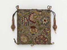 Purse - linen, silk, silver & silver-gilt threads, silk thread; hand sewn, hand embroidered, hand plaited. 1600-1650