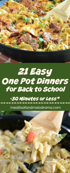 21 Easy One Pot Dinner Recipes - Fast, easy meals cooked in one skillet and ready in 30 minutes or less. Perfect for Back to School or any busy weeknight! from Meatloaf and Melodrama (Paleo Pasta Meals) One Pot Dinners, Fast Dinners, Fast Easy Meals, Easy Weeknight Meals, Fast Easy Dinner, Easy Meals For One, Easy Skillet Meals, Dump Dinners, Dinner Healthy