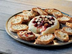 Cedar-planked Brie with Cherry Chutney and Toasted Almonds
