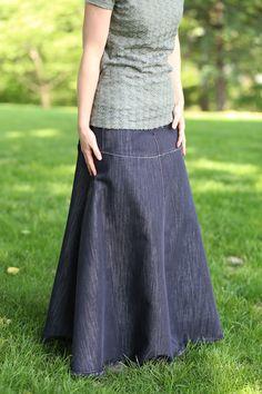 Flowing Chambray Modest Skirt | Long Denim Skirt Size 8-18