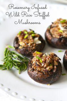 Rosemary Infused Wild Rice Stuffed Mushrooms, Gluten-free & Vegan