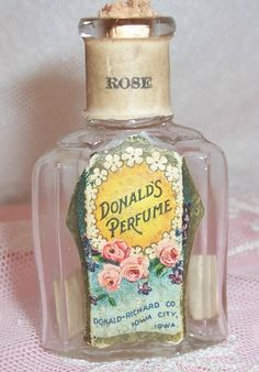 ANTIQUE Donald Co. ROSES & Violets Lithograph Label Perfume Bottle