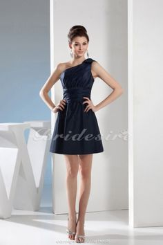 A-line One Shoulder Knee-length Sleeveless Satin Dress - $72.99
