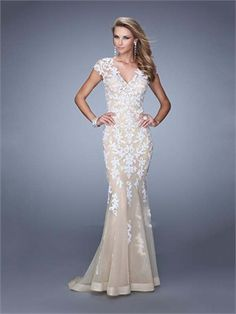 Mermaid Cap Sleeves V Neck Lace Hollow Out Long Prom Dress PD12002