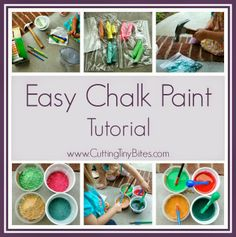 Easy DIY Sidewalk Chalk Paint Tutorial from Cutting Tiny Bites: Inexpensive summer fun that your kids will love to help make and play with.