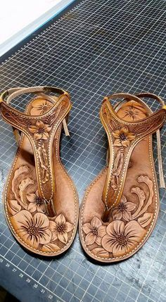 nice hand carved leather sandals