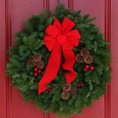 Every Worcester Wreath product is made in Maine from fresh Maine balsam fir. Your door is the perfect place for this traditionally decorated holiday wreath. Made with a full 4 pounds of fresh Maine balsam. Artificial Christmas Wreaths, Christmas Wreaths For Front Door, Holiday Wreaths, Christmas Greenery, Door Wreaths, Worcester, Colorful Christmas Decorations, Diy Weihnachten, The Fresh