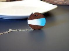 Round hand painted laser cut wood pendant necklace by BOLEandORE, $18.00