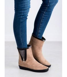 Kylie Suede Wellington Boots With Decorative Zip brown Ladies Wellies, Types Of Heels, Rainy Weather, Wellington Boot, Kylie, Chelsea Boots, Winter Fashion, Shoes Heels, Footwear