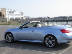 """My """"Barbie"""" car - Infinity G 37 convertible - Color is Pacific Sky. 1st day at the beach 2012"""