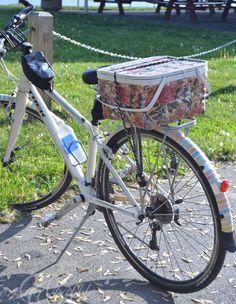 Picnic Basket Makeover - with paper napkins!  (and note the fancied up fender with washi tape)