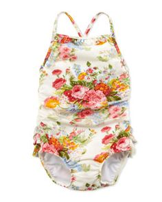 Z15L9 Ralph Lauren Childrenswear Floral-Print One-Piece Swimsuit, White, Sizes 4-6X