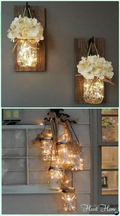 DIY Hanging Mason Jar String Lights Instruction - DIY Christmas Mason Jar Lighting (Diy House Christmas) DIY Christmas Mason Jar Lighting Crafts [Instructions]:different ways to make mason jar lights for mantel, dinning table and wall holiday decoration. Mason Jar Projects, Mason Jar Crafts, Mason Jar Diy, Hanging Mason Jar Lights, Mason Jar With Lights, Rustic Mason Jars, Diy Yankee Candle Jars, Mason Jar Lamp, Crafts With Jars
