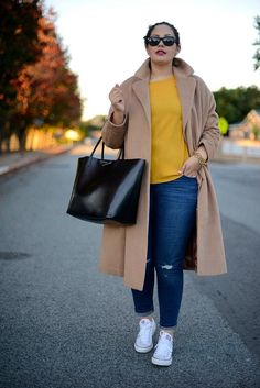 Camel Coat Trend | Plus Size Fall Fashion Looks, check it out at http://youresopretty.com/plus-size-fashion