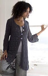 Long jacket: free knitting pattern by lana grossa