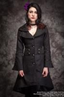 Black Brocade Military Gothic Coat with Corset Lacing