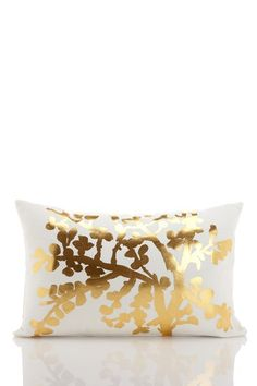 "Branch Drawing Metallic Gold on White Cotton/Linen Pillow - 14"" x 20""   by Vintage Chic Linen Bedding on @HauteLook"