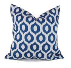 Blue outdoor pillow covers, 18x18, Blue and white outdoor pillows, Outdoor toss pillows, Indoor outdoor pillows, Outdoor decorative pillow by PillowCorner on Etsy