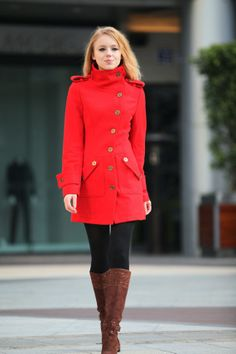 Red Cashmere Coat Fitted Military Style Wool Winter Coat Women Coat Long Jacket - NC258. $139.99, via Etsy.