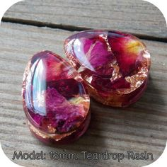 Real Rose Plugs Copper flake Plugs Pair Natural Flowers Resin Teardrop Double Flare Single Flare Wedding Valentines Unique Custom Gauge - Real Rose Plugs Copper Flake Plugs Pair of Natural Flowers Resin Teardrop Double Flare Single Flare - Ear Jewelry, I Love Jewelry, Resin Jewelry, Body Jewelry, Jewelry Gifts, Bridal Jewelry, Fine Jewelry, Handmade Jewelry, Jewlery