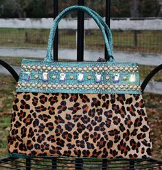 KurtMen Designs OL - Antique Croc with Leopard Hair on Hide and Volcano Crystals www.gugonline.com $479.95