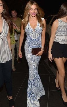 Sofia Vergara stepped out in Miami in a curve-hugging Roberto Cavalli paisley dress.
