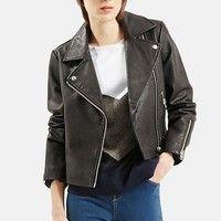 Women's Topshop Leather Biker Jacket ,